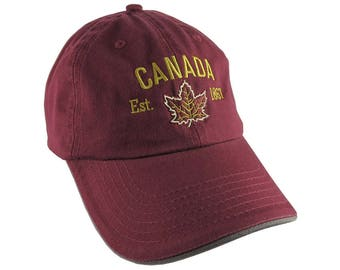 Canada Established 1867 Retro Style Maple Leaf Golden Embroidery on an Adjustable Burgundy Red and Grey Unstructured Baseball Cap