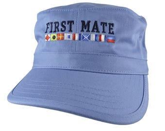 Nautical Flags Spelling First Mate Embroidery on an Adjustable Sky Blue Unstructured Military Cadet Cap with Option to Personalize Back