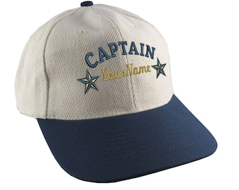 Personalized Captain Stars Your Name Embroidery Adjustable Natural Cotton and Navy Structured Low Profile with Option to Personalize Back