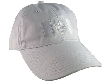 Canadian Flag White Embroidery Design on a White Adjustable Unstructured Baseball Cap Dad Hat for a Tone on Tone Fashion Look