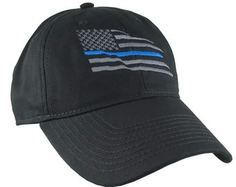 American Thin Blue Line Wavy US Flag Embroidery on an Adjustable Black Unstructured Classic Baseball Cap with Option to Personalize Back