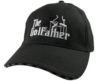 The Golf Father Godfather Style White Embroidery Adjustable Black Structured Fashion Golf Theme Baseball Cap