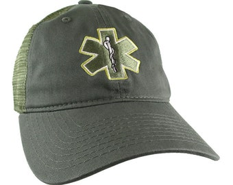 Paramedic EMT EMS Medical Star of Life Embroidery on an Adjustable Military Khaki Green Unstructured Trucker Style Classic Cap