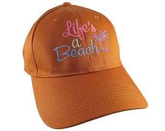Life's a Beach Multicolored Embroidery on an Adjustable Structured Burnt Orange Casual Baseball Cap