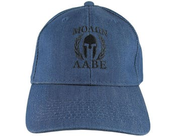 Molon Labe Spartan Warrior Mask in Laurels Black Embroidery on an Adjustable Blue Denim Structured Baseball Cap