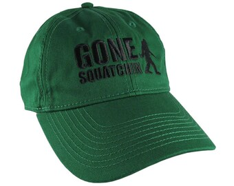 Gone Squatchin Humorous Sasquatch Bigfoot Silhouette Black Embroidery on an Adjustable Forest Green Unstructured Baseball Cap