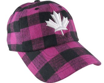 Canada White 3D Puff Maple Leaf Embroidery on Pink + Black  Buffalo Check Plaid Soft Structured Fashion Baseball Cap Dad Hat Style Canadian