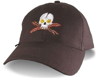 Crossbones Skull Bacon and Eggs Embroidery on an Adjustable Lightweight Soft Structured Brown Ball Cap