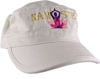 Yoga Pose Om Symbol Lotus Flower Namaste Golden Purple Pink Embroidery on an Adjustable Military Beige Unstructured Cadet Hat Style Cap