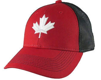 White Canadian Maple Leaf 3D Puff Raised Embroidery on an Adjustable Red and Black Full Fit Classic Trucker Cap Happy Canada Day