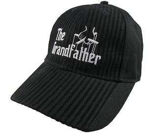 The Grandfather Godfather Style Parody White Embroidery Adjustable Fashion Stylish Structured Black Textured Stripes Peak Black Baseball Cap