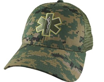 Paramedic EMT EMS Medical Star of Life Embroidery on an Adjustable Military Khaki Green Structured Woodland Camo Trucker Style Classic Cap