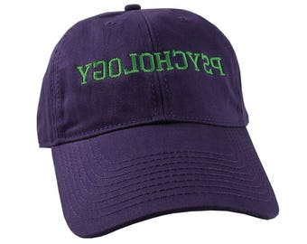 Reversed Psychology Humorous Typographic Header Embroidery Design on an Adjustable Purple Unstructured Baseball Cap Dad Hat