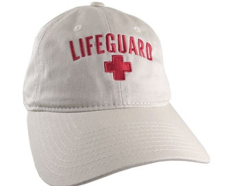 Beach Swimming Pool Lifeguard Red Embroidery on Adjustable Beige Unstructured Baseball Cap Dad Hat with Option to Personalize the Hat