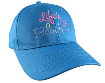 Life's a Beach Multicolored Embroidery on an Adjustable Structured Sky Blue Casual Baseball Cap