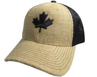 Canadian Black Maple Leaf 3D Puff Embroidery Canada Flag on Adjustable Natural Burlap Jute and Black Structured Trucker Style Baseball Cap