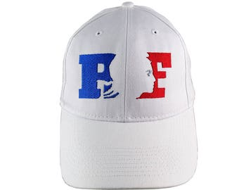 République Française RF France Blue White Red Silhouette Embroidery Design Adjustable White Structured Baseball Cap French Style