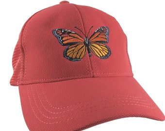 Custom Colorful Monarch Butterfly Embroidery on an Adjustable Structured Coral Red Trucker Style Mesh Baseball Cap