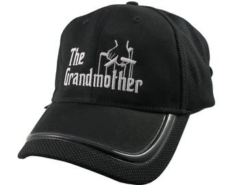 The Grandmother Godfather Style Parody White Embroidery on an Adjustable Fashion Structured Black Baseball Cap Contrasting Edge Design Visor