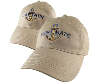 Nautical Star Golden Anchor Captain + First Mate Embroidery 2 Adjustable Khaki Beige Unstructured Ball Caps Options Personalize Both Hats