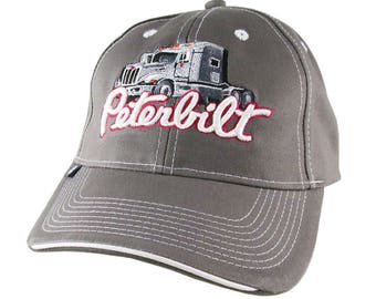 Silver Peterbilt Truck 3D Puff Embroidery Design Adjustable Grey Structured Baseball Cap with Options to Personalize This Hat for a Trucker