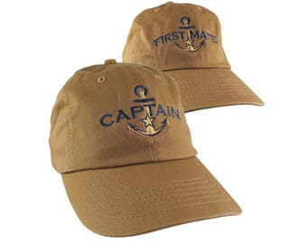 Nautical Star Golden Anchor Captain + First Mate Embroidery 2 Adjustable Sienna Unstructured Baseball Caps with Options to Personalize Hats