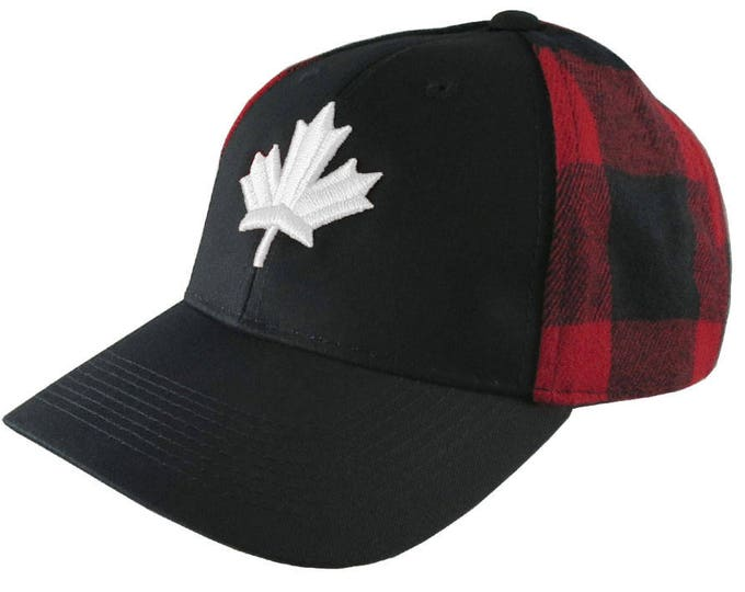 Featured listing image: White Canadian Maple Leaf 3D Puff Embroidery on an All Season Adjustable Black and Buffalo Check Red Plaid Full Fit Classic Baseball Cap