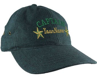 Personalized Captain Stars Your Name Embroidery on an Adjustable Teal Unstructured Low Profile Dad Hat with Option to Personalize the Back