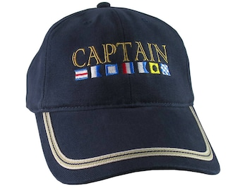 Nautical Signal Flags Captain Embroidery on an Adjustable Navy Blue Structured Fashion Baseball Cap with Options to Personalize This Hat