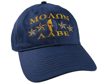 Molon Labe Spartan Warrior Mask Laurels Stars Golden Yellow and Blue Embroidery on an Adjustable Navy Blue unstructured Baseball Cap Dad Hat