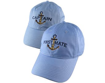 Nautical Star Golden Anchor Captain + First Mate Embroidery 2 Adjustable Baby Blue Unstructured Baseball Caps Options Personalize Both Hats