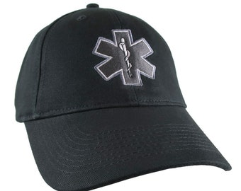 Paramedic EMT EMS Star of Life Embroidery on Adjustable Black Structured Premium Baseball Cap with Options to Personalize on Two Locations