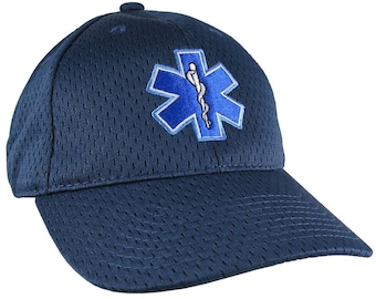 Paramedic EMT EMS Star of Life Embroidery on Adjustable Navy Blue Structured Premium Baseball Cap with Options to Personalize Two Locations