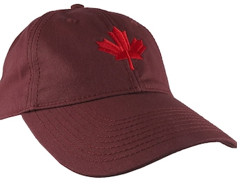 Canadian Red Maple Leaf Canada Embroidery on an Adjustable Burgundy Red Unstructured Classic Baseball Cap with Option to Personalize Back