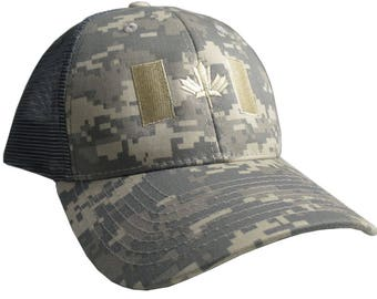 Canadian Flag Beige Embroidery on an Army Beige Digital Camouflage Structured Adjustable Classic Trucker Style Cap in Silver Grey Back Mesh