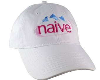 Naive Evian Parody Humorous Typographic Header Embroidery Design on an Adjustable White Unstructured Baseball Cap Dad Hat