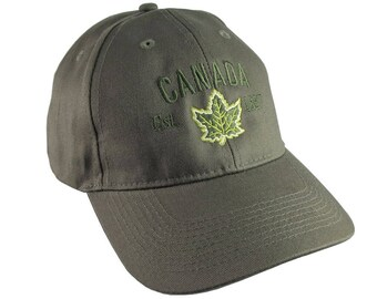 Canada Established 1867 Retro Style Maple Leaf Green Embroidery on an Adjustable Khaki Green Structured Baseball Cap