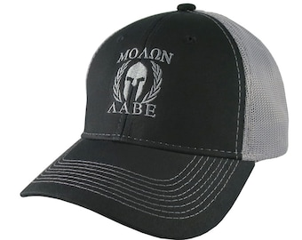 c1839f0614f Molon Labe Roman Spartan Warrior Mask in Laurels Silver Embroidery on an  Adjustable Black Structured Truckers Style Snapback Ball Cap