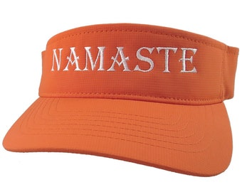 Namaste White Embroidery Heading on an Adjustable Sporty Stylish Modern Orange Visor Summer Hat Spiritual Yoga World Travel