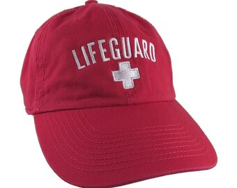 Beach Swimming Pool Lifeguard White Embroidery on Adjustable Red Unstructured Baseball Cap Dad Hat with Option to Personalize the Hat