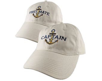 Nautical Star Golden Anchor Captain and First Mate Embroidery 2 Adjustable Beige Unstructured Baseball Caps Options Personalize Both Hats
