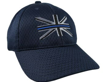 The Thin Blue Line Symbolic on the Union Jack UK Flag Embroidery on an Adjustable Fashion Stylish Structured Navy Blue Full Fit Baseball Cap