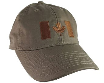 Canadian Flag Copper Embroidery Design on a Taupe Light Brown Adjustable Unstructured Baseball Cap Dad Hat for a Tone on Tone Fashion Look