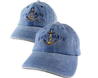 Golden Star Anchor Captain + First Mate Embroidery on 2 Adjustable Premium Denim Unstructured Baseball Caps with Options to Personalize Hats