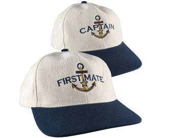First Mate and Captain Duo Star Anchor Embroidery Adjustable Natural Cotton and Navy Structured Low Profile with Options to Personalize
