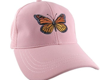 Custom Colorful Monarch Butterfly Embroidery on an Adjustable Structured Powder Pink Trucker Style Mesh Baseball Cap