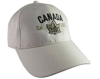 Canada Established 1867 Retro Style Maple Leaf Black and Golden Embroidery on an Adjustable Stone Beige Structured Baseball Cap