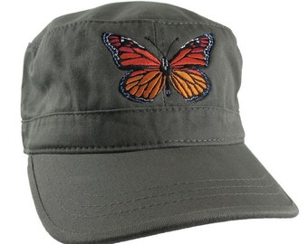 Custom Colorful Monarch Butterfly Embroidery on an Adjustable Unstructured Olive Green Cadet Style  Fashion Cap