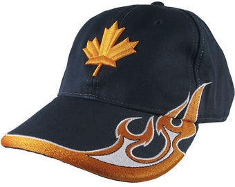 Canadian Maple Leaf 3D Puff Orange Embroidery Adjustable Navy Blue Structured Racing Flames Baseball Cap + Options to Personalize