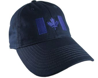 Canadian Flag Royal Blue Embroidery Design on a Dark Navy Blue Adjustable Unstructured Baseball Cap Dad Hat for a Tone on Tone Fashion Look